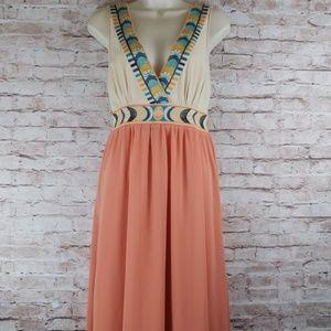 FLYING TOMATO Peach Aztec Maxi Dress Medium